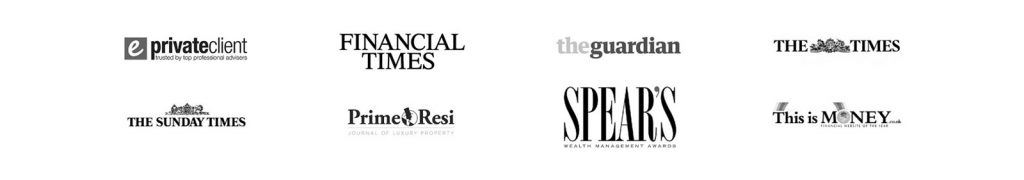 Logos of awards and newspapers